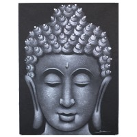 Buddha Painting - Grey Brocade Detail
