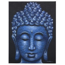 Buddah Painting - Blue Brocade Detail