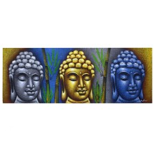 Buddha Painting - Three Heads With Bamboo