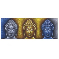Buddha Painting - Three Heads Gold Detail